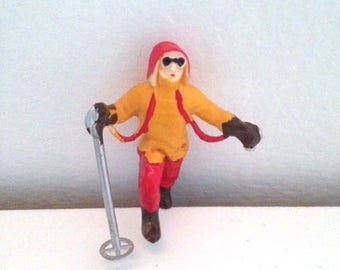 AS-IS Miniature Person on Skis for Terrarium or Model