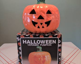 Vintage Ceramic Pumpkin Tea light votive Lantern with Original Box