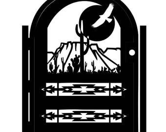 Southwest Style Decorative Steel Gate - Metal Art - Desert Eagle - Desert Scene Wall Panel Art - Southwest Driveway Gate - Entryway Gate Art