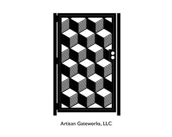 Artistic Steel Gate - Staggered Cube Gate - Metal Art - Cube Art Gate - Artistic Steel Panel - Geometric Steel Art Gate - Geometric Gate