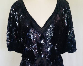 Black Sequined Blouse