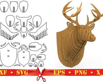 Deer Head 3D Puzzle Digital Download CNC Cutting Files