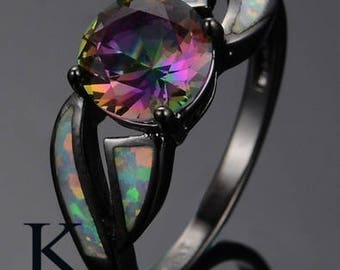 Multicolor Mystic Rainbow Topaz Stone 10KT Black Gold Filled Ring