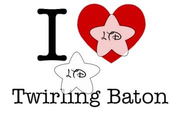 I Love Baton Iron On Transfer