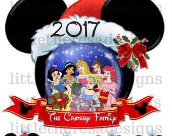 Minnie Disney Princess Family Christmas Transfer,Digital Transfer,Digital Iron On,Diy