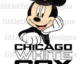 Mickey or Minnie Chicago White Sox Digital Image,Iron On,Diy