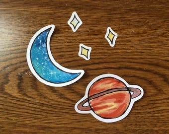 Space Theme Vinyl Stickers Set