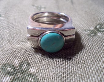 Turquoise ring 3 piece sterling size 9