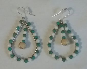 Turquoise and White Looped Teardrop Earrings (#30)
