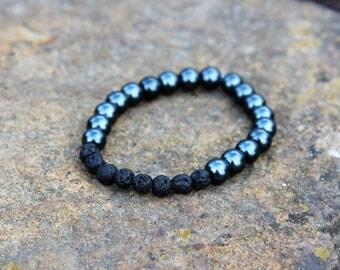 Men's Black Aromatherapy Essential Oil Diffuser Bracelet