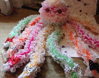 hand knitted neon lace octopus decoration