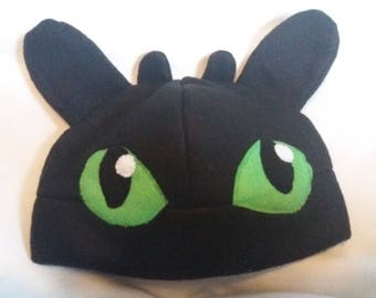 Toothless inspired beanie/fleece hat how to train your dragon fleece hat
