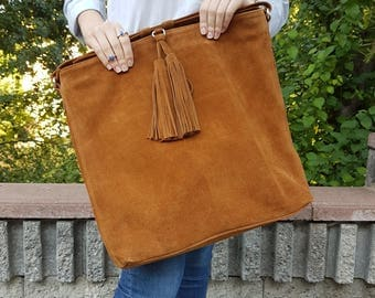Free Shipping! Tote Bag, Suede Tote Bag, Bag, Real Leather (Suede) Tote Bag
