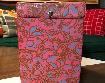 Vintage 1960 Pink Paisley Mod Wig Box with Foam Head