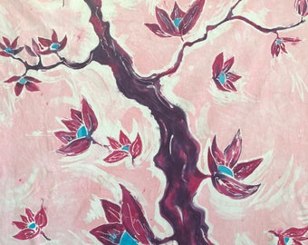 Batik art, Wall hanging, Pink, Flowers, Fabric art, Fiber art.