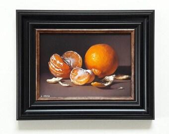 Original oil painting, Satsumas still life, framed