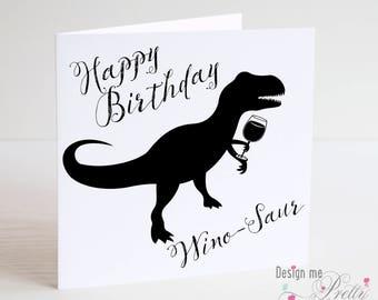 Winosaurus Birthday Card