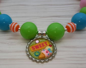Bubblegum and bottlecap necklace