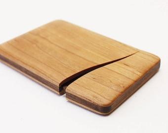 Wood business cards into slim cherry, Walnut