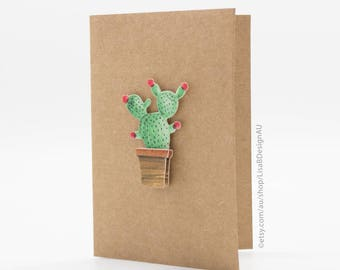 Customisable Card | Mini Card | Cactus Card | 3D Sticker | Kraft Card | Cute Stickers | Cactus Sticker | Succulent Plants | GCHCM01