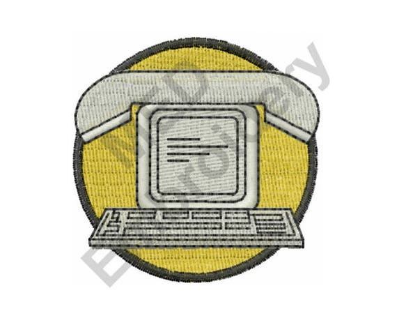 Telephone Computer Machine Embroidery Design From