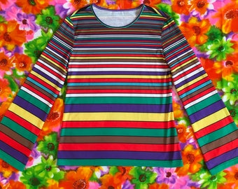 Vintage Rainbow Striped Retro Bell Flared Long Sleeve T-shirt Shirt 80s 90s Shirt Top Mod
