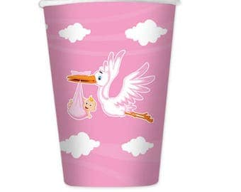Stork pink glasses, baby shower, welcome, birth