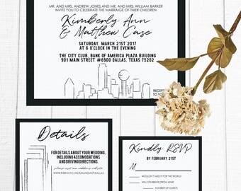 Skyline  Modern Wedding Invitation Suite Custom