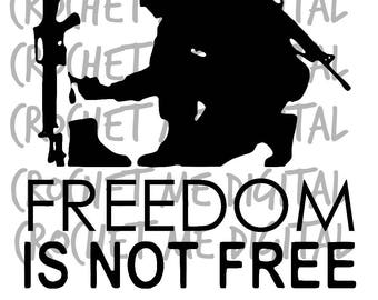 Freedom Is Not Free Memorial Day Patriotic Silhouette Cutting Cut File SVG, STUDIO3, PNG Bundle Instant Download