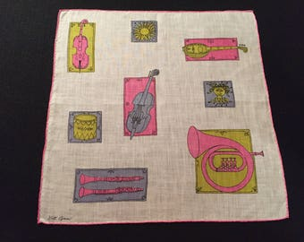 Vintage Hankie with Musical Theme by Kit Ann