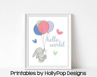 Printable nursery prints Bunny rabbit art Printable baby art Downloadable nursery art Bunny with balloons Girls room decor Baby girl  #1852