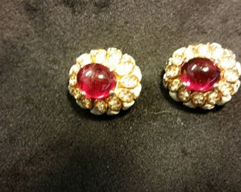 Costume red stone and gold clip-on earrings