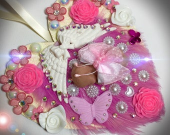 Beautiful handmade baby fimo with wings on a mdf plaque with flowers and butterflies