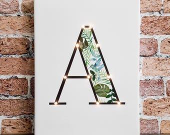 Letter lights, Monstera, Light up letters, Nordic design, Led letters, Marquee letter, A B C D E F G H I J K L N O P Q R S T U V W X Y Z &
