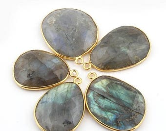 50% off 5 Pcs 24K Gold Plated Flashy Labradorite Gemstone Faceted Assorted Shape Single Bail Pendant 26mmx19mm-30mmx23mm PC029