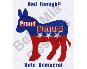 Donkey - Machine Embroidery Design, Democratic Party Donkey