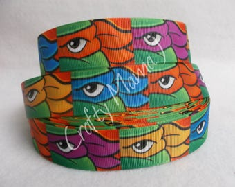 "Teenage Mutant Ninja Turtles TMNT 1"" Grosgrain Ribbon by the yard. Choose between  5/10 yards. Mask Images"