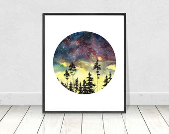 Digital Watercolor Galaxy with Tree Sillouette Painting Printable Wall Art- Home Decor- Painting Print- Watercolor Nature Art- 8X10- 16X20