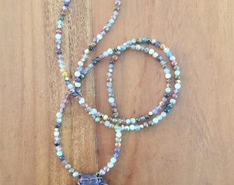 "Necklace semi precious stones with ""pétek"" original rabbi Nahman"