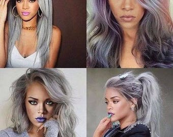1B Roots/Silver Grey Remy Ombre Dip Dye  Balayage Human Hair Wefts Bundles & Closures Available in Straight or bodywave