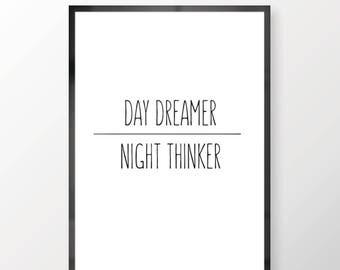 Day Dreamer Night Thinker Wall Print - Wall Art, Bedroom Print , Minimalist Print, Day Dreaming Print, Personal Print, Home Decor
