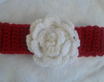 baby headband 6-12 months red with white flower