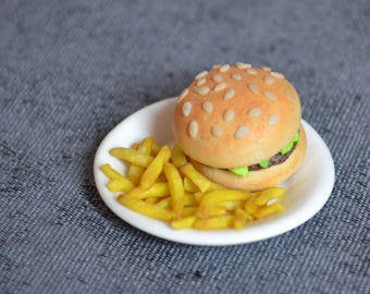 Magnet miniature polymer clay Burger/fries plate