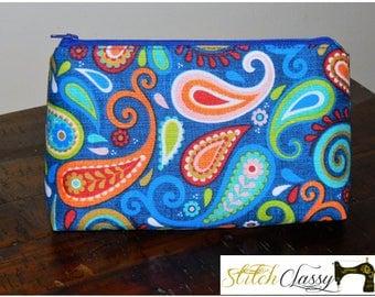 Royal Blue Paisley Cosmetic Bag
