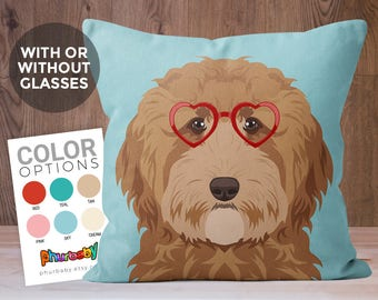 Goldendoodle Pillow | Girlfriend Gift | Dog Pillow | Boyfriend Gift | Fiance Gift | Gift For Dog Owner | Pet Lover Gift | Dog Gift | Dog Art