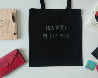 Who are you? tote bag Hand embroidered tote bag Black cotton bag Canvas bag Hand embroidered white letters Books bag Shopping bag Ready2Ship
