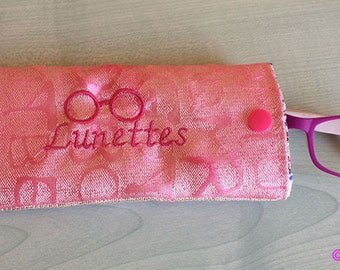 Laminated cotton fabric glasses case pink embroidered
