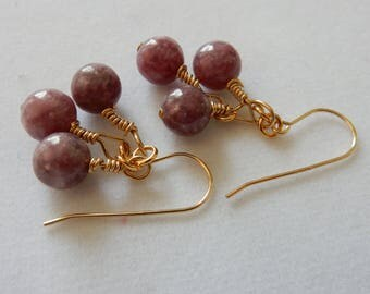 Genuine Pink Tourmaline & Gold Earrings