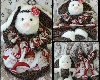 Handmade Fuzzy White Christmas Bunny Doll in Animal Print Ruffle Dress Made to Order