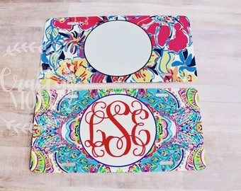 Monogram License Plate Lily Inspired